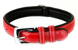 Hunde Leder Halsband aus weichem Rindsleder - gepolstert in rot - für mittelgroße Hunde 25mm x 50cm - Premium Qualität