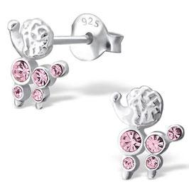 925 Silber Pudel Ohrringe mit 10 rosa funkelden Kristallen