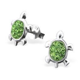 925 Silber Schildkröten Ohrringe mit 16 funkelden Kristallen