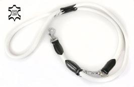 Hunde Leder Leine aus weichem Rindsleder - hochwertig gepolstert in weiß - Doppelleine - Führleine - Premium Qualität