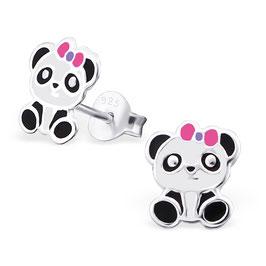 925 Silber Pandabär Ohrringe mit süßer Schleife am Kopf