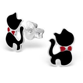 925 Silber Katzen Ohrringe in zwei veschiedenen Farben, schwarz und weiß