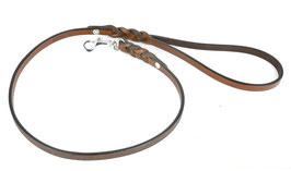 Hunde Leder Leine aus weichem Rindsleder in braun - an den Enden geflochten - Einzelleine - Führleine - sehr gute Qualität