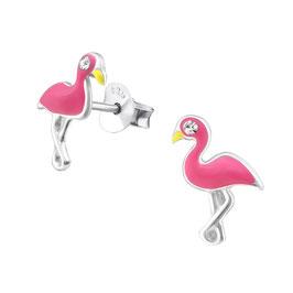 925 Silber Flamingo Ohrringe mit 2 funkelden Kristallen als Augen