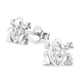 925 Silber Frosch Ohrringe mit 10 funkelden Kristallen