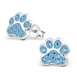 925 Silber Ohrstecker Hunde-Pfoten Ohrringe mit 24 funkelnden Kristallen