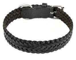 Hunde Leder Halsband aus weichem Rindsleder geflochten - schwarz - breit - für große Hunde - Premium Qualität