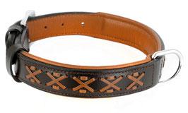 Hunde Leder Halsband aus weichem Rindsleder - gepolstert - braun - breit - mit toller Zierflechtung - für große Hunde - Premium Qualität