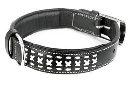 Hunde Leder Halsband aus weichem Rindsleder - gepolstert - schwarz - breit mit Zierflechtung in weiß - für große Hunde - Premium Qualität