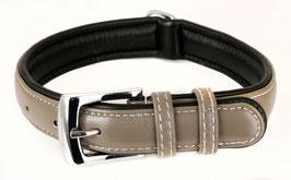 Hunde Leder Halsband aus weichem Rindsleder - gepolstert in hellgrau - für mittelgroße Hunde 25mm x 50cm - Premium Qualität