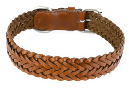 Hunde Leder Halsband aus weichem Rindsleder geflochten - braun - breit - für große Hunde - Premium Qualität
