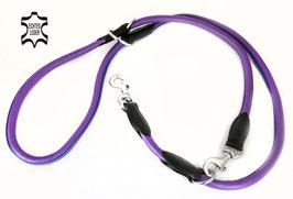 Hunde Leder Leine aus weichem Rindsleder - hochwertig gepolstert in lila - Doppelleine - Führleine - Premium Qualität