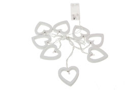 Herz LED Lichterkette, batteriebetrieben, 8 weiße LED Holzherzen