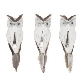 3 Eulen 12 cm x 3,5 cm x 3,5 cm  aus Federn mit Clip weiss
