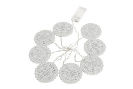 Blume LED Lichterkette, batteriebetrieben, 8 weiße LED Holzblumen; Licht warmweiß