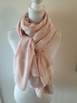 Baumwollschal rosa 200x80 mit botanischen Motiven