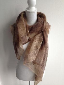 Schal aus fein gewebter Merino-Wolle 180x90cm, braun-beige