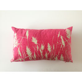 30x50cm Kissen Wildrhubarb - Gräser auf rot