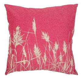 50x50cm Kissen Wildrhubarb - Gräser auf rot