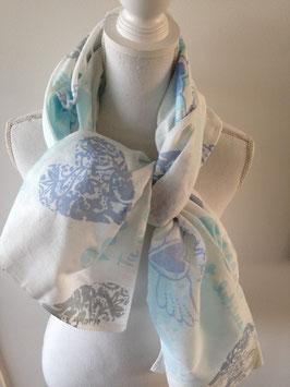 Baumwollschal 75x150cm mit blauen Herz-Motiven