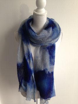 Schal aus fein gewebter Merino-Wolle 180x90cm, blau