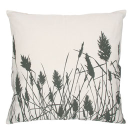 50x50cm Kissen Wildrhubarb - Gräser auf weiß
