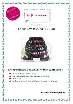 """Kit de couture facile le petit sac enfant """"Au Tableau"""""""