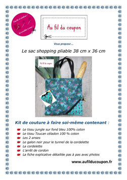 "Kit de couture facile: le sac shopping pliable ""Toucan céladon"""