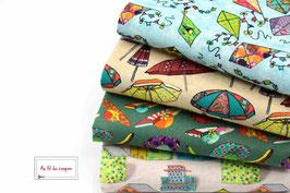 """Lot de 4 coupons de tissus impression digitale 100 % coton certifié OEKO-TEX® """"LA PLAGE"""""""