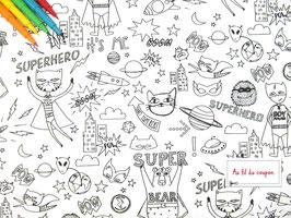 "Tissu à colorier 100 % coton certifié OEKO-TEX® ""SUPERHERO"""