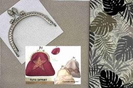 """Kit """"Porte monnaie Gris/Or étoile Argent""""en Simili cuir"""