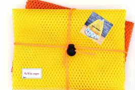 "Lot de 2 coupons de tissus filet ""Orange/Jaune""+ Tuto OFFERT+stop cordon et cordon OFFERT"