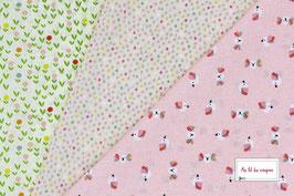 """Lot de 3 coupons de tissus enfants 100 % coton certifié OEKO-TEX® """"Mon Petit oiseau"""""""