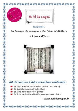 "Kit de couture facile: La housse de coussin ""Berbere YORUBA"" OEKO-TEX®"