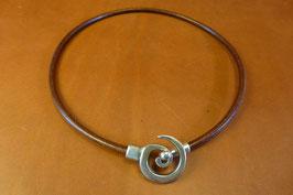 Collier Spirale en cuir Marron