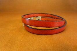 Bracelet Deux Tours cuir rouge