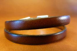 Bracelet Deux Tours cuir marron