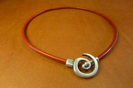 Collier Spirale en cuir Rouge