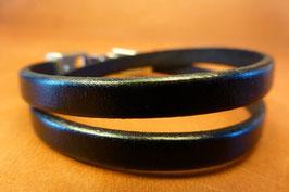Bracelet Deux Tours cuir noir