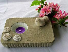kerzen oder pflänzli deko mit rosen und taube klein