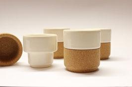 ESPRESSO-Tassen aus Keramik mit Korkfassung im 4er Set