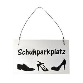 """Holzschild """"Schuhparkplatz"""" weiß"""