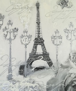 "Acrylmalerei ""Eiffelturm"" in weiß/silber"