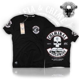 "Shirt Mafia and Crime ""CRIMINAL WORLDWIDE PATCH"" schwarz mit weissem Patch"