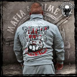 "Stehkragenzipper Mafia and Crime ""STREETFIGTHER"" grau"