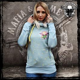 Girl Hoodie Mafia and Crime - vintage blau