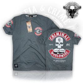 "Shirt Mafia and Crime ""CRIMINAL WORLDWIDE PATCH"" anthrazit mit rotem Patch"