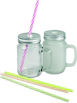 Henkelglas mit Deckel und Trinkhalm incl. Druck