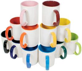 Keramiktasse Henkel und Innenseite farbig,  incl. Druck + passende Verpackungsbox