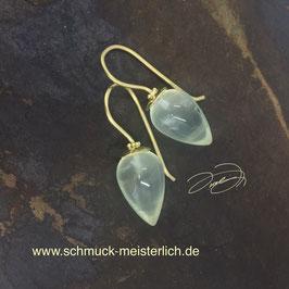 Ohrhänger Granulation 750/-Gelbgold und Prehnit-Pendel in zartgrün